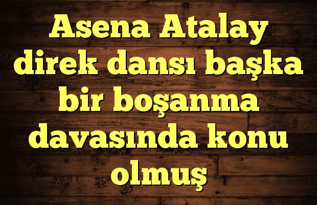 Asena Atalay direk dansı başka bir boşanma davasında konu olmuş