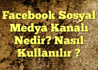 Facebook Sosyal Medya Kanalı Nedir? Nasıl Kullanılır ?